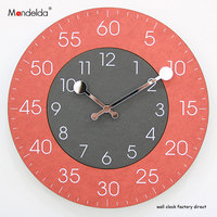 Mandelda New Quartz Suzuki Movement Wall   Clock   Red Reliable Waterproof Commercial Wall   Clock   for Living Room,Office,Bar,Cafe