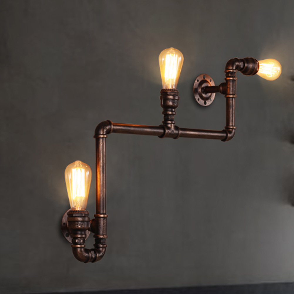 Wandlampe Retro Us 72 09 30 Off Retro Loft Industrial Pipe Lamp Vintage Wall Lamp Wandlampe Retro With 3 Head Lights Wall Sconce Metal Frame Factory Feature In Led