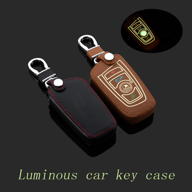 Leather car Key fob case cover for BMW Series 520 GT New 3 7 Series X1 X3 New X5 X6 keychain ring key holder bag Auto Accessory