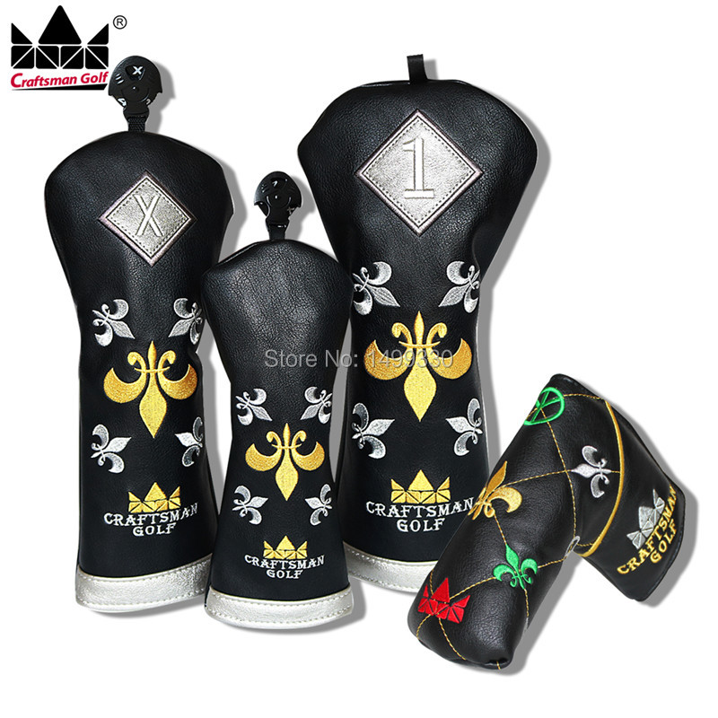 Craftsman  Gold Trident  Golf Club Cover Set Golf Headcover For Driver Fairway Wood FW Rescue Hybrid  Putter Black mini golf club set golf ball sport abs golf club for children golf table with flag kids sport game toy gift children drop ship