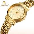 Señoras de Plata Banda de Acero Relojes de Marca De Lujo de oro Relojes de Las Mujeres Con Los Números Romanos Dial Reloj Mujer reloj de Las Mujeres