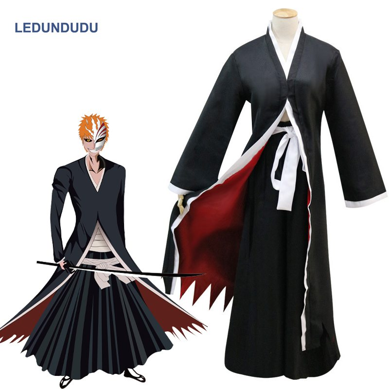 Anime Bleach Kurosaki Ichigo Bankai Cloak Black White Robes Pants Uniforms Cosplay Costumes for Halloween Xmas Party