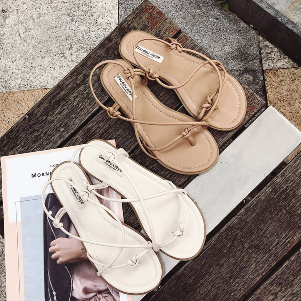 White Fashion Summer Back Strap with X Décor Slip On Women Flat Sandals Size 6