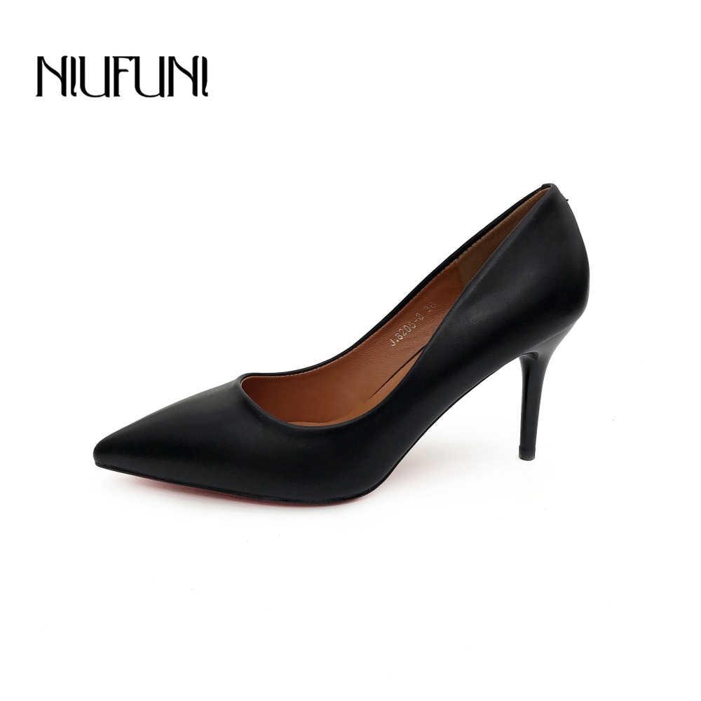 Moda PU Deri Yüksek Topuklu Kadın Pompaları Sivri Burun Iş Pompası Stiletto Kadın Ayakkabı Düğün Ayakkabı Ofis Kariyer Zarif Pompalar
