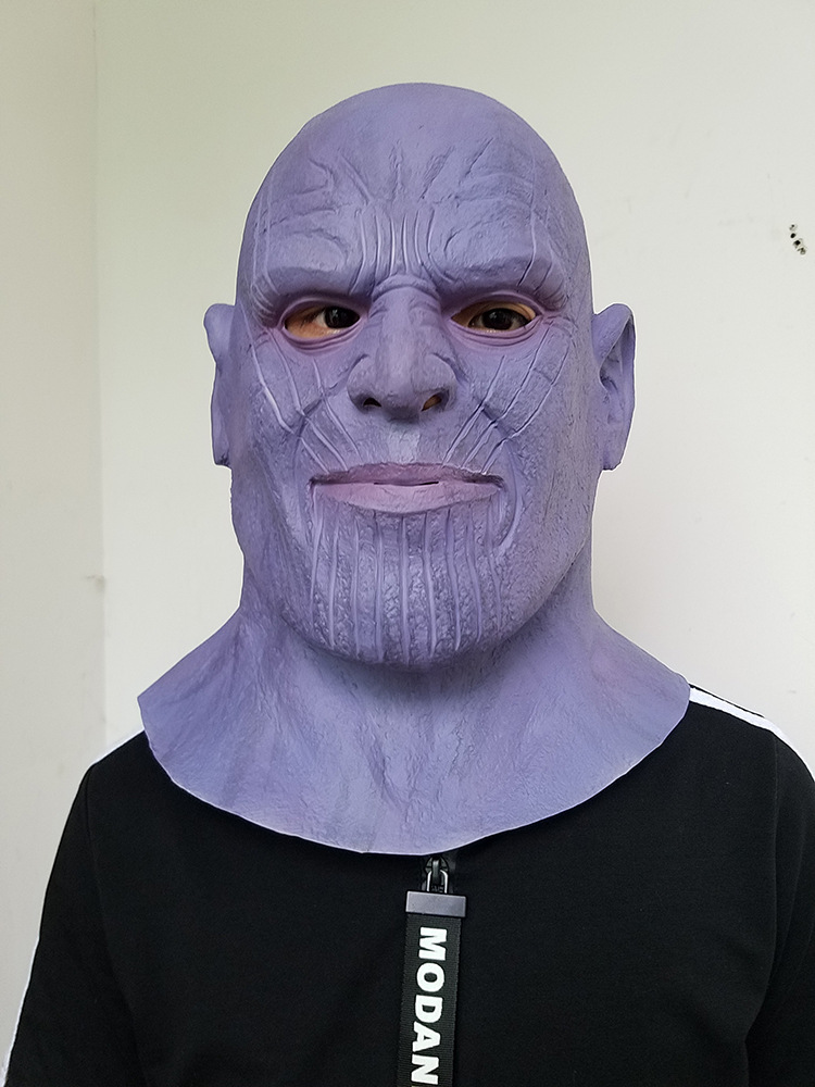 OHCOMICS Avengers Infinity War Marvel Thanos PVC Purple Cosplay Costume Mask Accessries Halloween Comicon Scary Mask Cool Decor