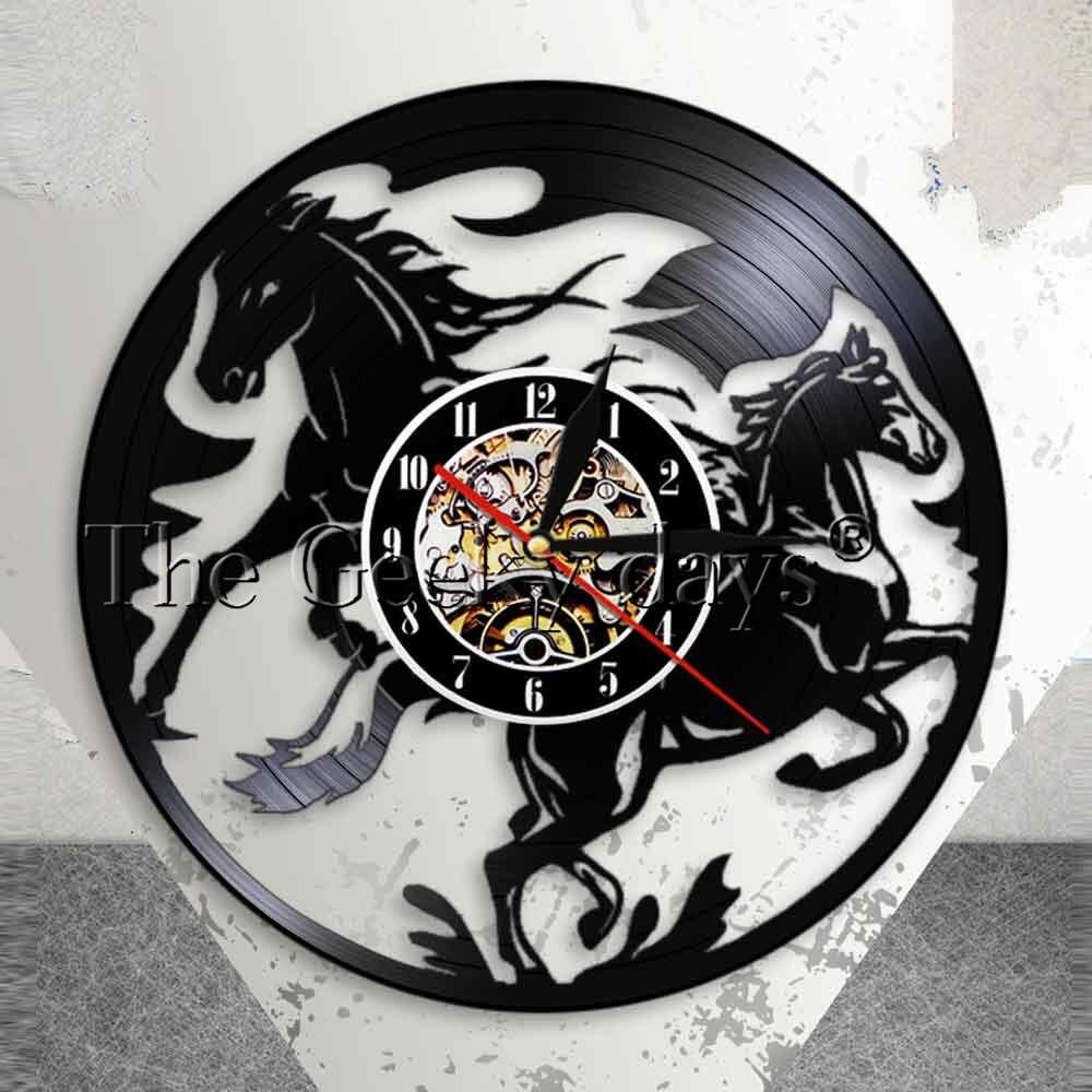 Nature Black Running Horses Equine Wall Art Wild Horses Clock Vintage Vinyl Record Wall Clock Horse Lover Home Decor Accessories