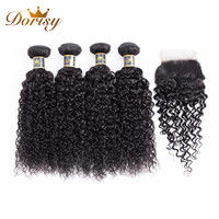 Dorisy Hair Brazilian Kinky Curly 4 Bundles With 4*4 Lace Closure Natural Color 100% Human Hair Non Remy Hair Free Shipping