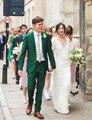 Green Men's Groom Tuxedo Fashion Wedding Party Evening Suit Groomsman Suit Blazer  (Jacket+Pants+Vest+Tie)