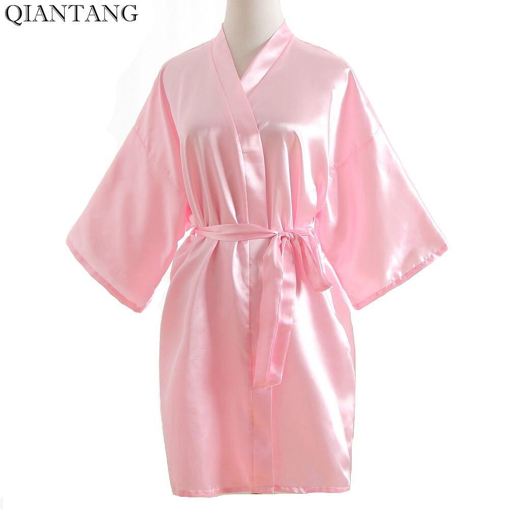 Top Selling Summer Women's Kimono Mini Robe Pink Faux Silk Bath Gown Yukata Nightgown Sleepwear Pijama Mujer One Size Msj011