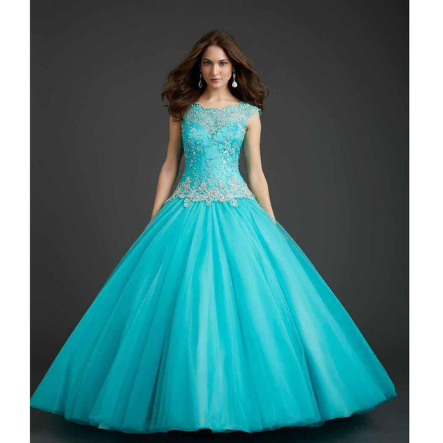 Custom Made Debutante Gown Green Tulle Applique Beading Lace ...