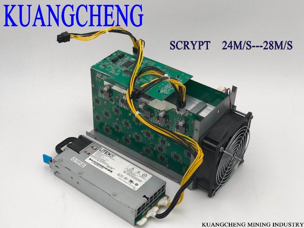 KUANGCHENG Silverfish 25 m/s Litecoin minero Scrypt minero fuente de alimentación 420 vatios mejor que ASIC minero Zeus 25 m Litecoin