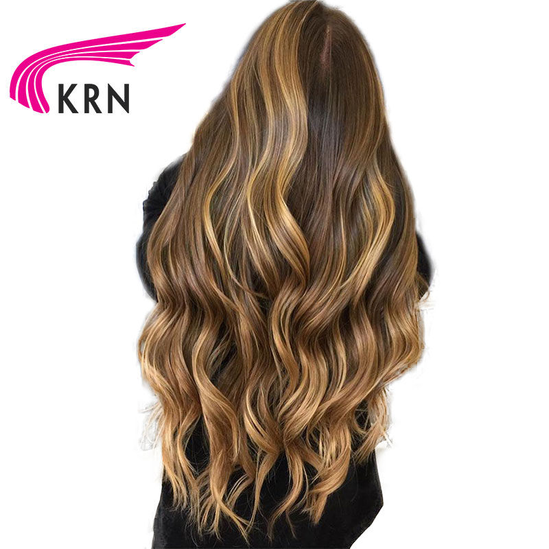 KRN Glueless Human Hair Lace Front Wig 150 Remy Brazilian Hair Wavy Ombre Highlights 4 27