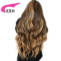 KRN Glueless Human Hair Lace Front Wig 150% Remy Brazilian Hair Wavy Ombre Highlights #4/27 Color PrePlucked Hairline