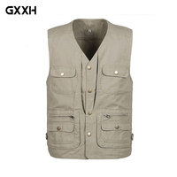 2019 New Spring Mens Denim Vest Multi Pocket button Closure Photographer Waistcoat For Male Big Size XL XXL 3XL 4XL