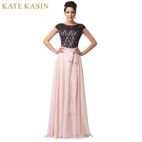 Free Shipping Scoop Neck Lace Up Back Empire Cap Sleeve Sexy Chiffon Applique Long Evening Dress