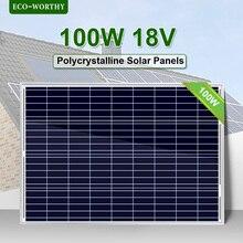 ECOworthy 100 Вт 18 в поли панели солнечных батарей поликристаллический для 12 в зарядное устройство от сети караван дома 100 Вт солнечная панель системы