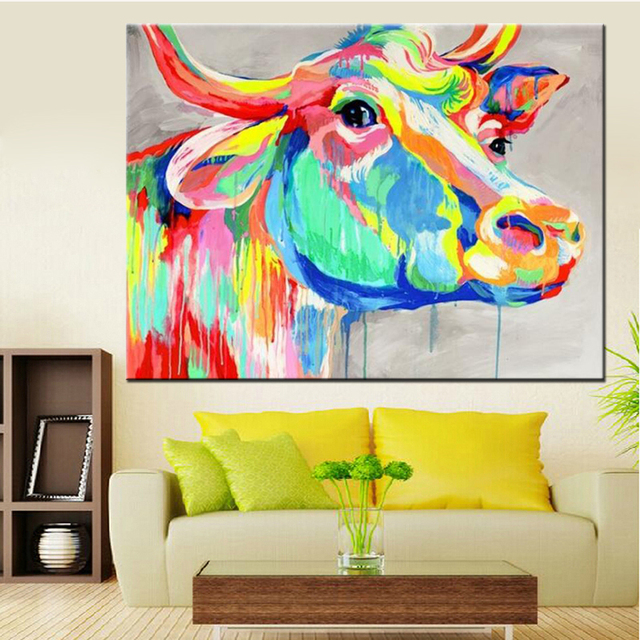 Handmade Home Decor Paintings Abstract Animal Canvas Art Cow Oil