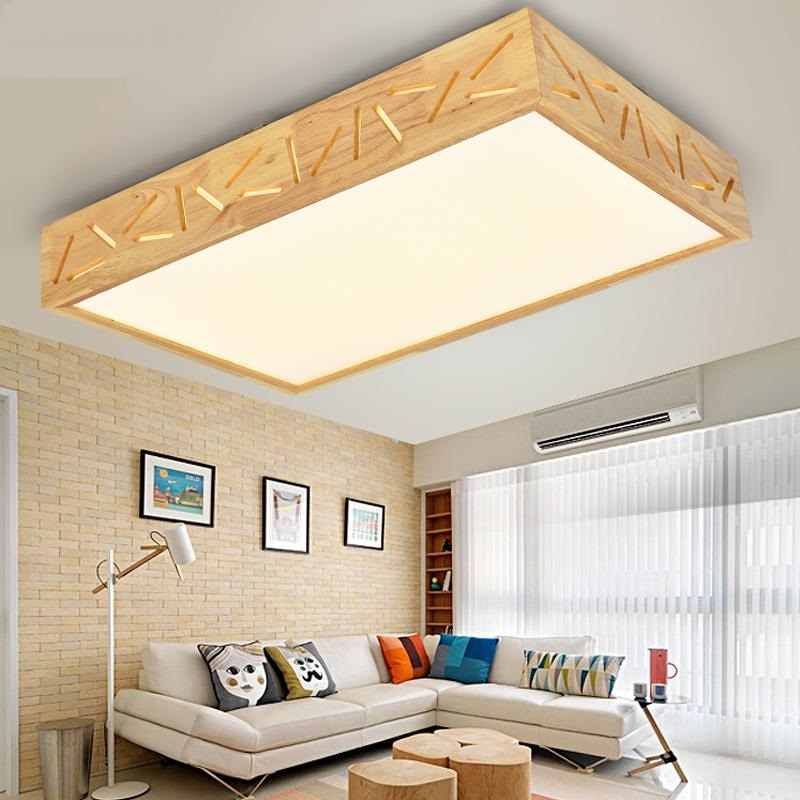 Solid Wooden art living room led ceiling lamp hall simple modern long square Japanese st ...