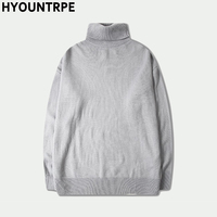 Male Sweater Basic Pullover 2018 Autumn Winter High Neck Casual Solid Color Warm Sweater Women Men Fashion Street Loose Sweaters