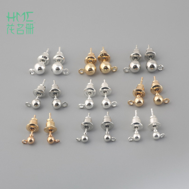 10 Sets Gold Silver Rhodium Plated Stud Earrings Post Earring Stopper For Fashion Women Diy