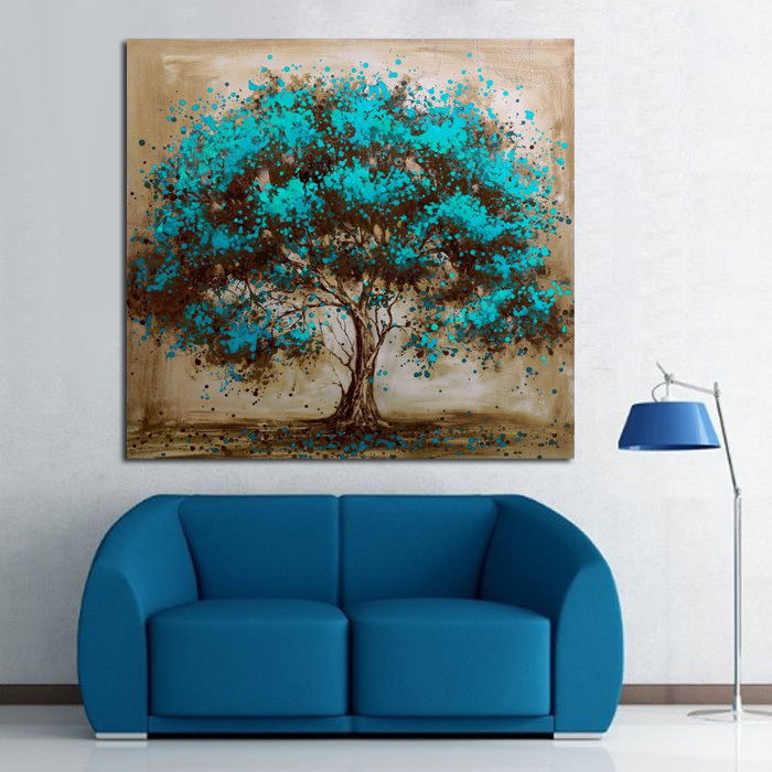 Buy handpainted modern abstract blue tree for Blue wall art for living room