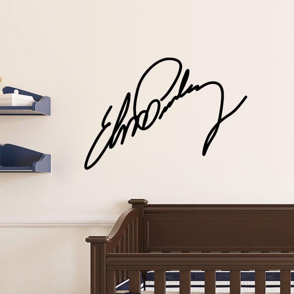 Elvis Presley Sign Signature Home Decor Vinyl Wall Sticker Wallpaper Window Decals 17 In Stickers From Garden On Aliexpress