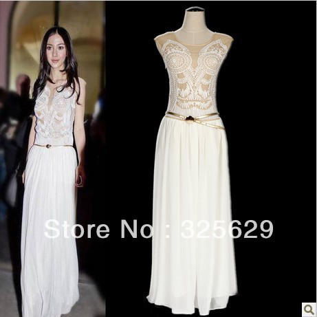 009c5eb5e45c a piece free shipping Angelababy 2013 spring chiffon embroidery disk  flowers one-piece dress sleeveless long full dress fashion