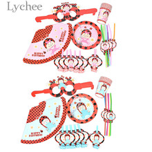 Lychee 36pcs Ladybug Pattern Party Tableware Sets Blue Pink Disposable Tableware Baby Shower Birthday Party Supplies