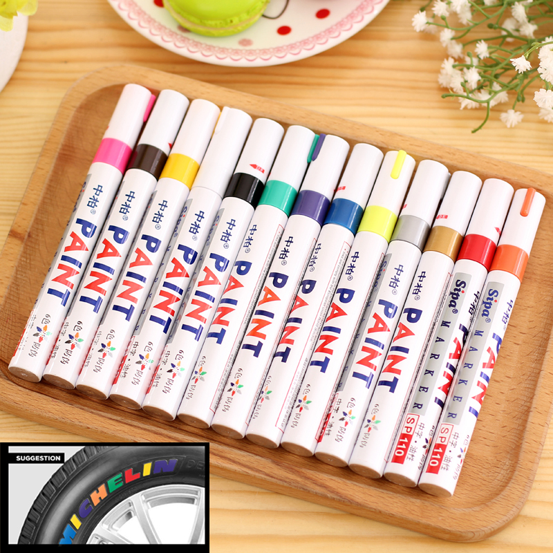 13Colors Metal Permanent Marker Pen Colorful Waterproof Oilly Marcador Caneta Paint Markers For DIY Tyre Tire Tread CD Metal Pen diy tire marker paint pen for auto car motorcycle white green