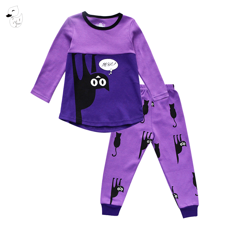 Biniduckling осень Детская одежда для сна для девочек и мальчиков Пижамы для девочек из 100% хлопка с принтом кота футболка + Штаны 2 шт. Bebes