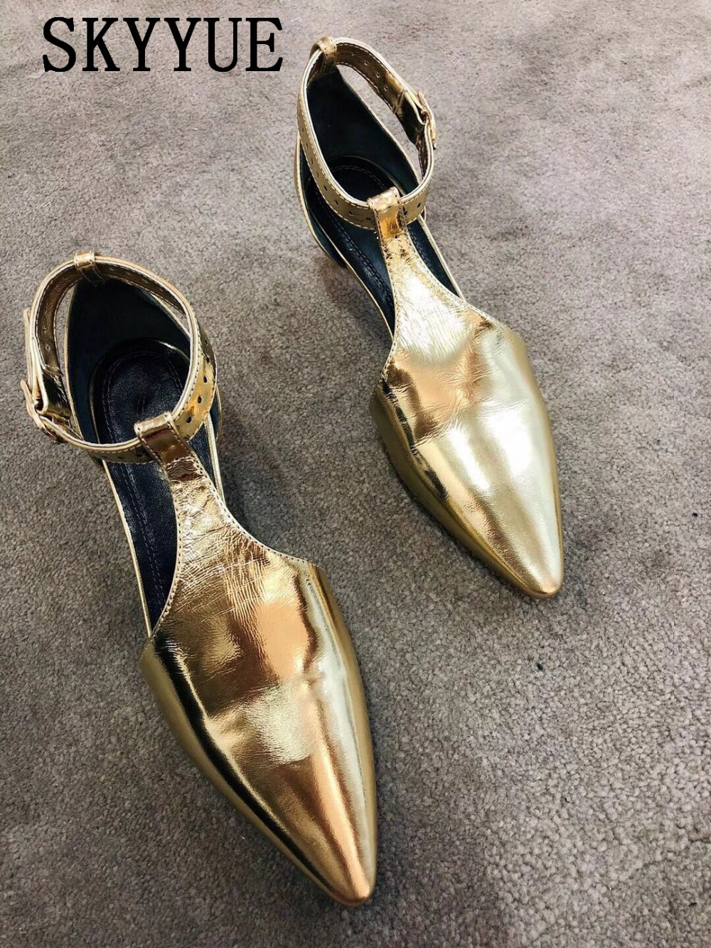 New Skyyue Gold Metallic Leather T-Strap Pointed Toe Women Pumps Sexy Pointed Toe Women Kitten Heel Summer Party Shoes Women 2016 new women shoes summer sweet style leatherette pointed toe bowknot beading chunky kitten heel big size weeding pumps 0216