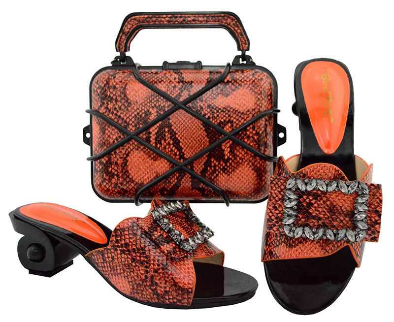 Latest Orange Color Italian Shoes with Matching Bags Nigerian Women Wedding Shoes and Bag Set African Wedding Shoes and Bag GL02 african fashion shoes with matching bag set for wedding party italian design nigeria women pumps shoes and bags mm1060