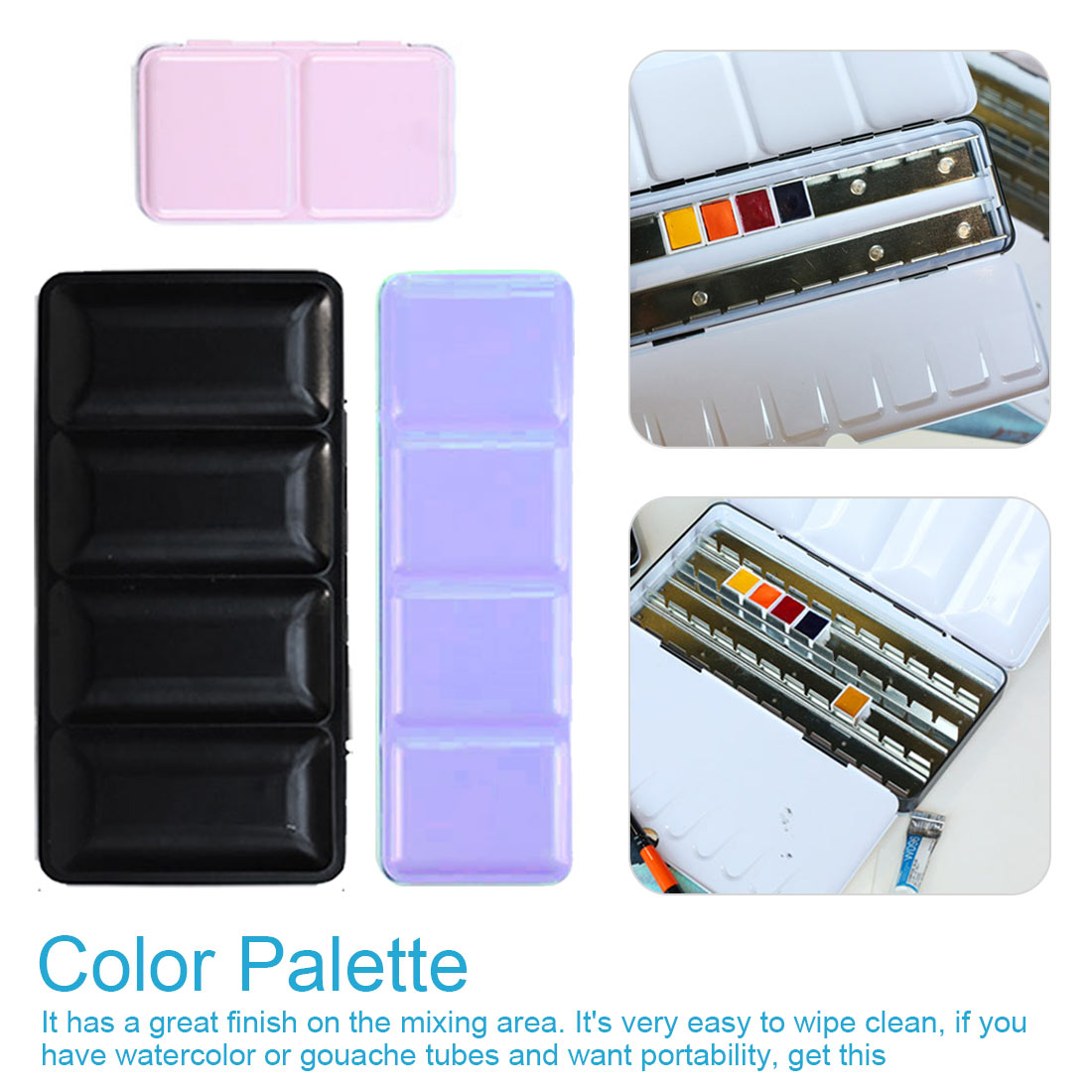 Empty Watercolor Jar Palette Paint Box Metal Solid Watercolor Paint Empty Box 12/24/48 Grid Watercolor Empty Tin Box