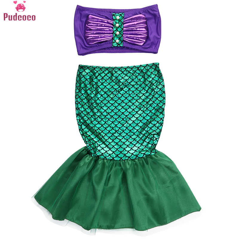 Pudcoco Cosplay Grils Costume Dresses The Little Mermaid Tail Princess Ariel Dress Cosplay Costume Kids for Girl Fancy Dress