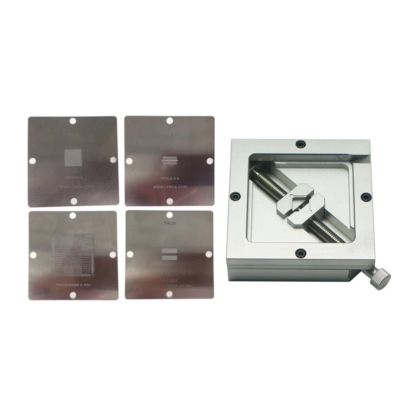 4PCS 80*80mm PS4 BGA Heating Stencils + HT-80 BGA Reballing Station For Chips Rework bga reballing 90x90mm bga reballing station reballing holder for bga rework station