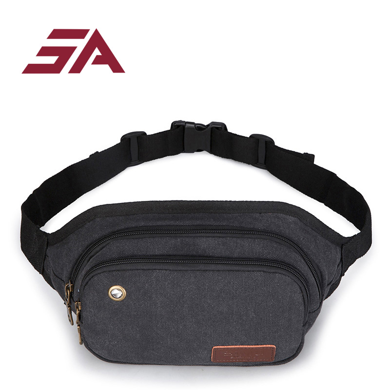 SA 2018 waist back black fashion waist bag women fanny packs belt bum bag waist packs for women men unisex Multi pocket ...