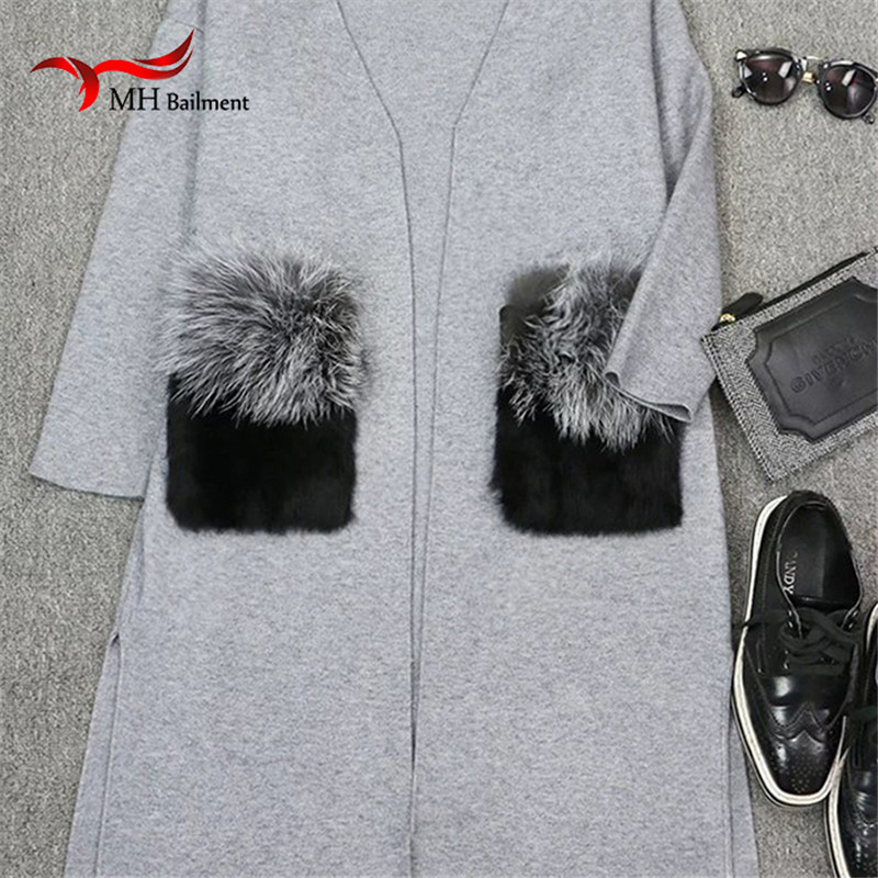 Winter Lady Coat Natural Fox Fur Removable Pocket