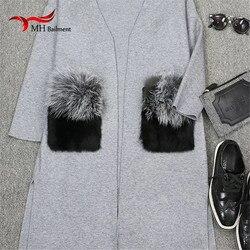 Winter lady coat natural fox fur removable pocket