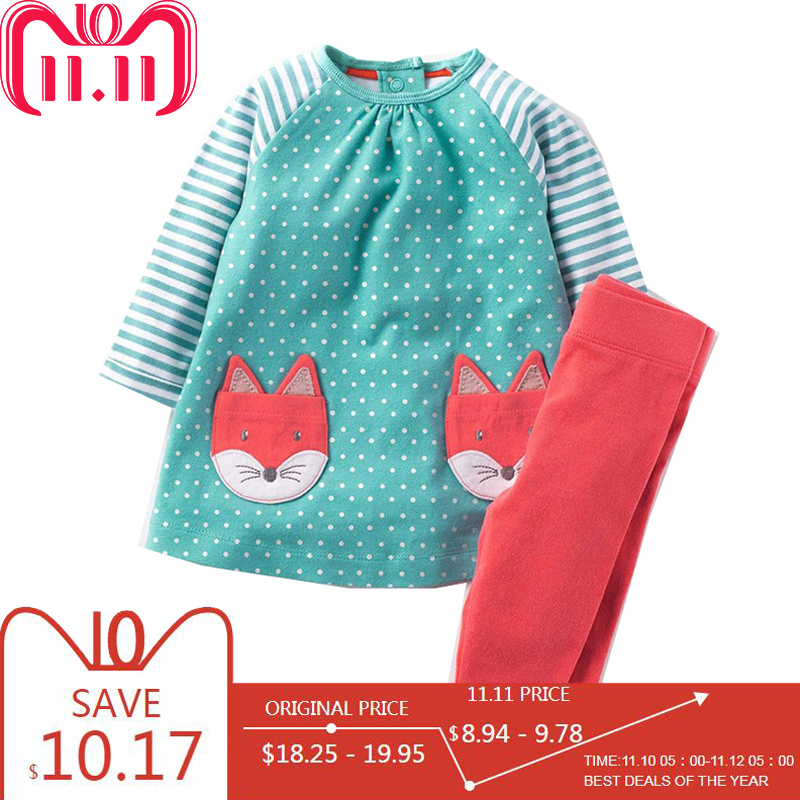 Baby Girls Clothes Children Clothing Sets 2018 Brand Kids Tracksuits for Girls Sets Animal Pattern Baby Girl School Outfits цена 2017