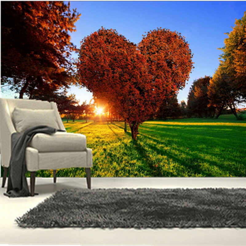 The custom 3D murals, parks Sunrises and sunsets Trees Heart Grass Nature wallpapers,living room sofa TV wall bedroom wall paper custom 3d mountains sunrises and sunsets forest trees rays of light nature papel de parede living room tv wall bedroom wallpaper