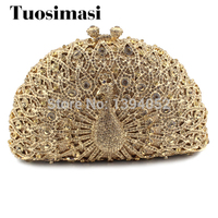 Newest hot selling Peacock gold purse rhinestone crystal clutch bag women bag (8105A G3)