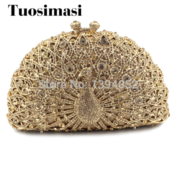 Newest hot selling Peacock gold purse rhinestone crystal clutch bag women bag   (8105A-G3)Newest hot selling Peacock gold purse rhinestone crystal clutch bag women bag   (8105A-G3)