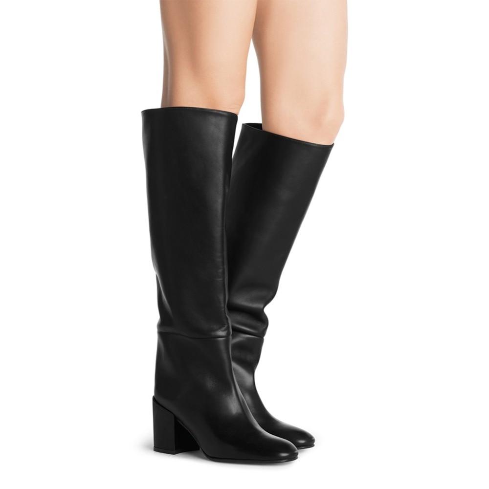 Haute Genou Suede Femmes Bottes Pu Slip brown Mi Noir Prêtas Rond Chaussures Dames Bout On 2018 Botas Chunky Hiver Pu black Hautes Black Carré Talon Faux Pour IpXtF
