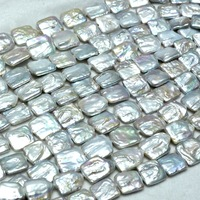 Nautral Cultrued 18 20mm Square Wihte Baroque Freshwater Pearls Beads Full Strand