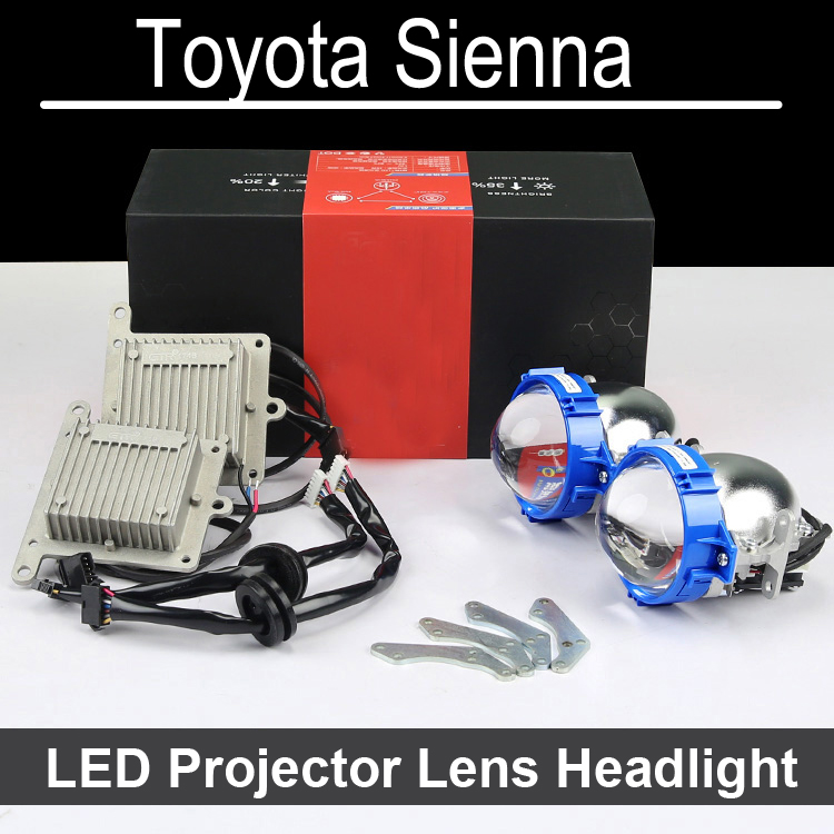 No Error Hi Low LED Projector lens headlight Assembly For Toyota Sienna with halogen headlamp ONLY Retrofit Upgrade (2006-2015) hireno headlamp for mercedes benz w163 ml320 ml280 ml350 ml430 headlight assembly led drl angel lens double beam hid xenon 2pcs