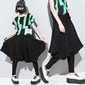 2016 mujeres de la moda gota entrepierna pantalones capris cosechado baggy harem pantalones hip hop personalidad negro cruz-pantalones