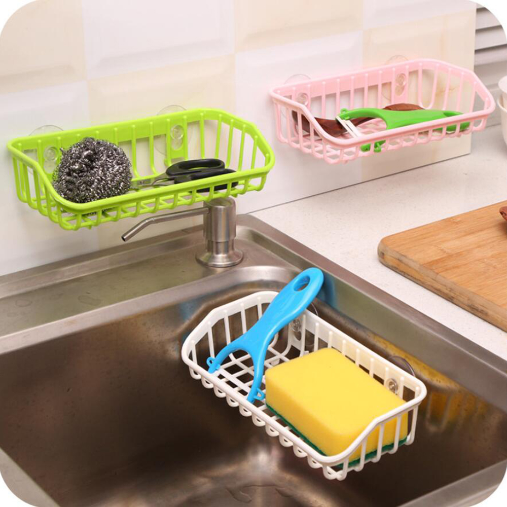 1PC PP Suction Cup Bathroom Plastic Drain Rack Sink Multi-functional Storage Sponge Holder Shelf Kitchen Make Up Organizer 1055C
