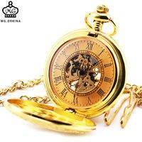 Posh Luxury Men Women Mechanical Pocket Watches Half Hunter Glittering Golden Stainless Steel Case Roman Numeral