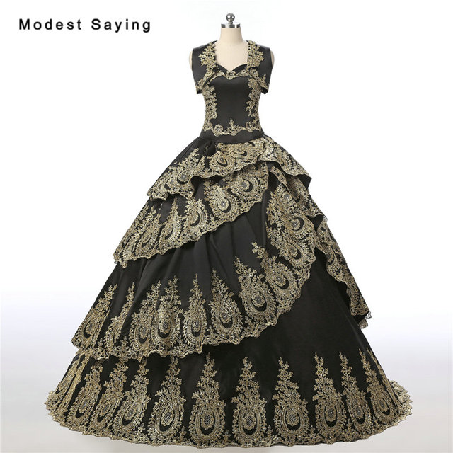 8bdce1b915c Princess Gold and Black Ball Gown Lace Quinceanera Dress 2017 with Tiered  Skirt and Jackets Party Prom Gowns vestidos de 15 anos