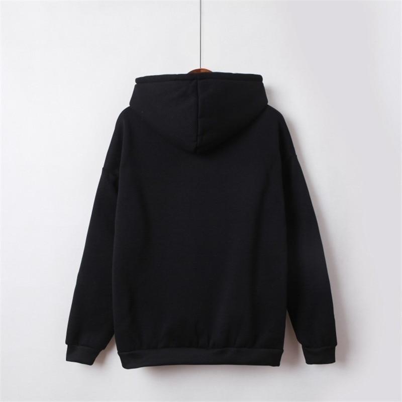 Hooded Tops Women's Sweatshirt Long-Sleeved Winter Velvet Thickening Coat 27